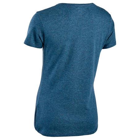 Playera algodón extensible Fitness azul oscuro jaspeado