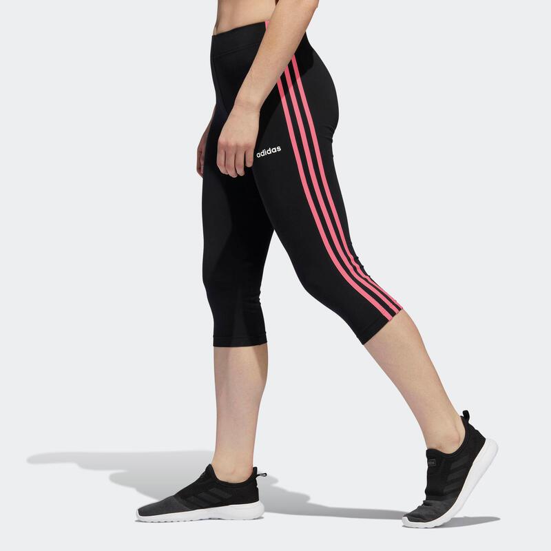 corsaire Adidas Essentials 3 bandes femme en coton noir et rose