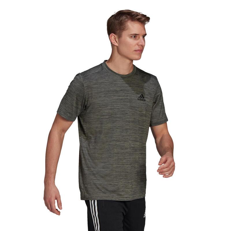 T shirt Adidas Fitness kaki chiné