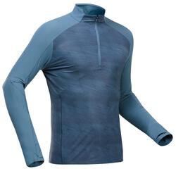 T-shirt montagna uomo MH550 Anti-UV azzurra