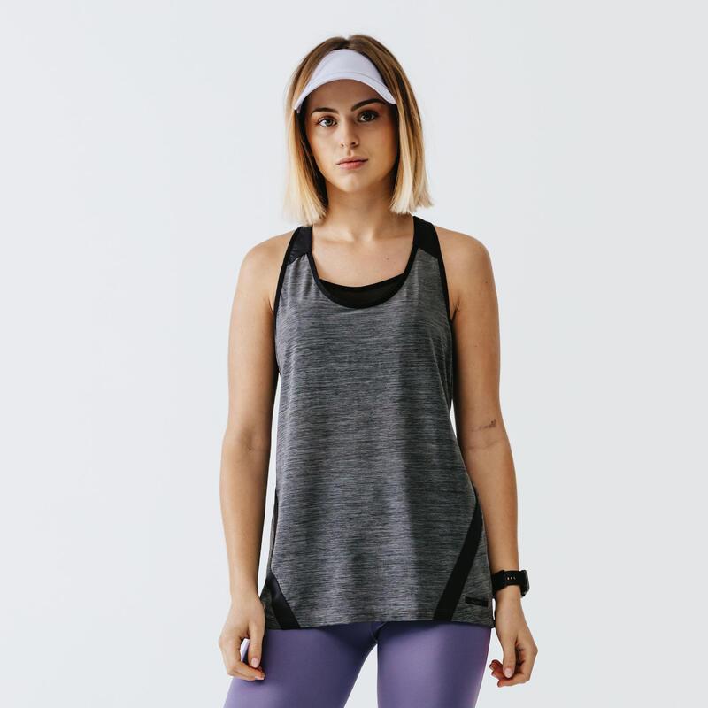 Camiseta Running Run Light Mujer Negro Sin Mangas
