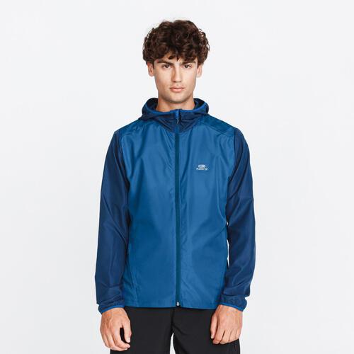 Veste running homme capuche wind bleu