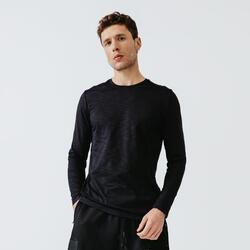 Ademend hardloopshirt met lange mouwen voor heren Dry+ zwart