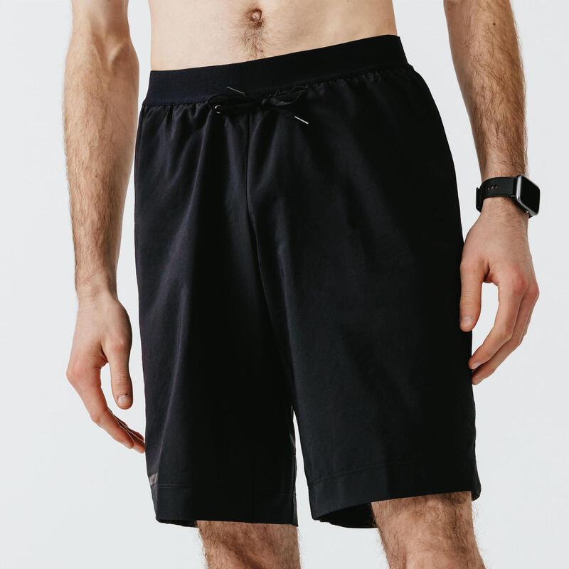 Short Running Kalenji Dry + Hombre Negro 2 En 1 Bóxer Integrado