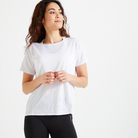 Playera fitness cardio-training mujer blanco 500