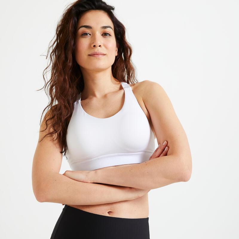 Top Sujetador Deportivo Mujer Fitness cardio-training Alto Impacto 900 Blanco