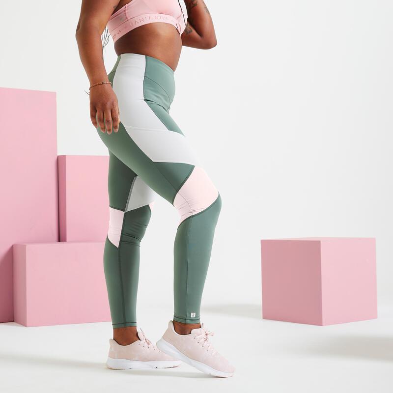 Mallas Leggins Mujer Tiro Alto Fitness moldeador Color Block