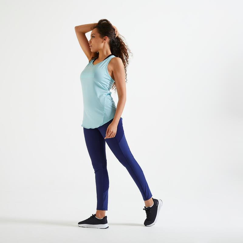 Mallas Leggings Fitness Con Bolsillo Azul