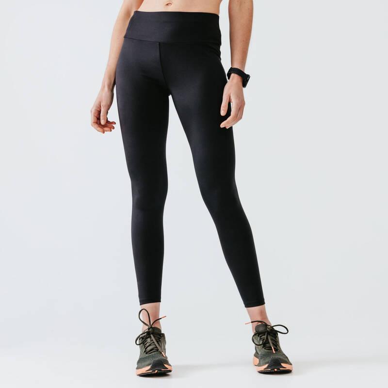 DÁMSKÉ OBLEČENÍ NA JOGGING, TEPLÉ POČASÍ, PRAVIDELNÉ POUŽITÍ Běh - LEGÍNY RUN SUPPORT ČERNÉ  KALENJI - Běžecké oblečení