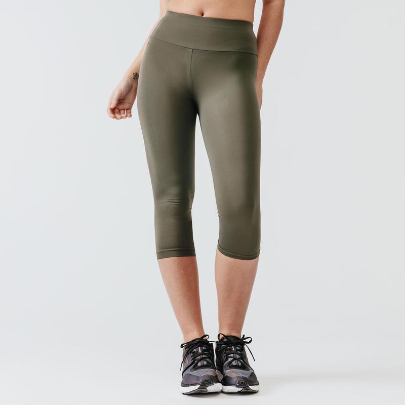 Run Support Women's Cropped Leggings - Grey Khaki