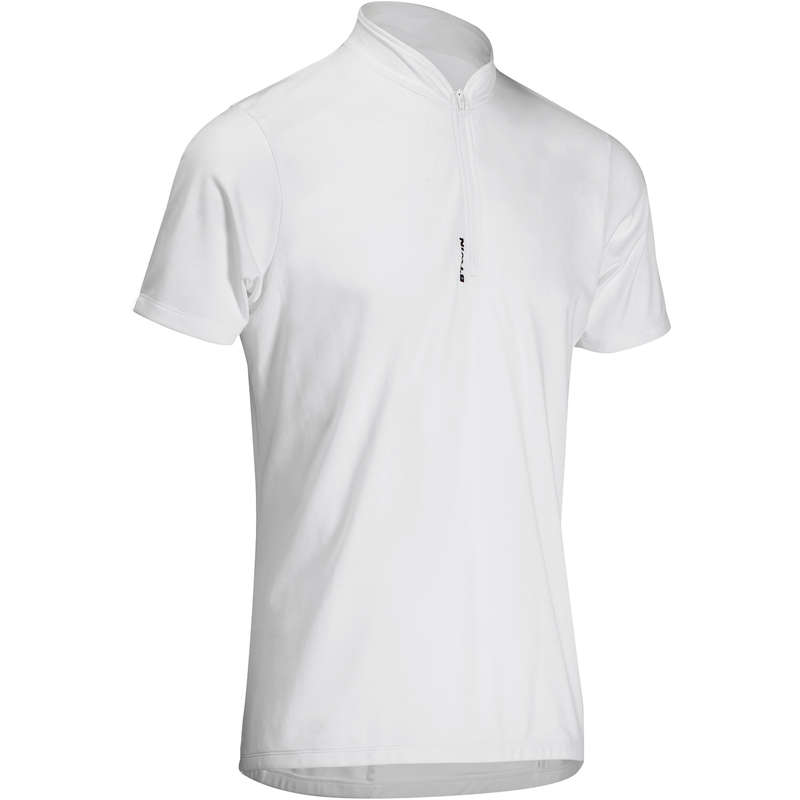 MEN WARM WEATHER ROAD CYCLING APPAREL Cycling - Essential Short Sleeve Cycling Jersey - White B'TWIN - Cycling