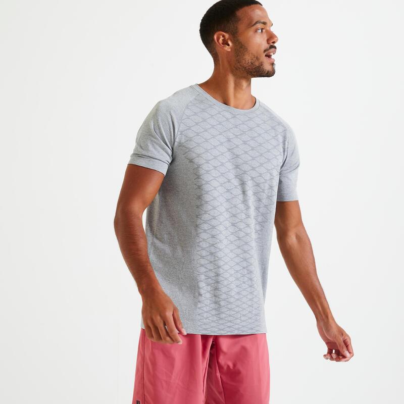 T shirt Fitness training gris chiné sans couture