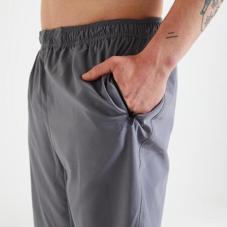 Fitness Training Shorts with Zippered Pockets - Plain Grey