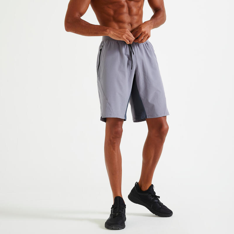 Short training fitness gris uni