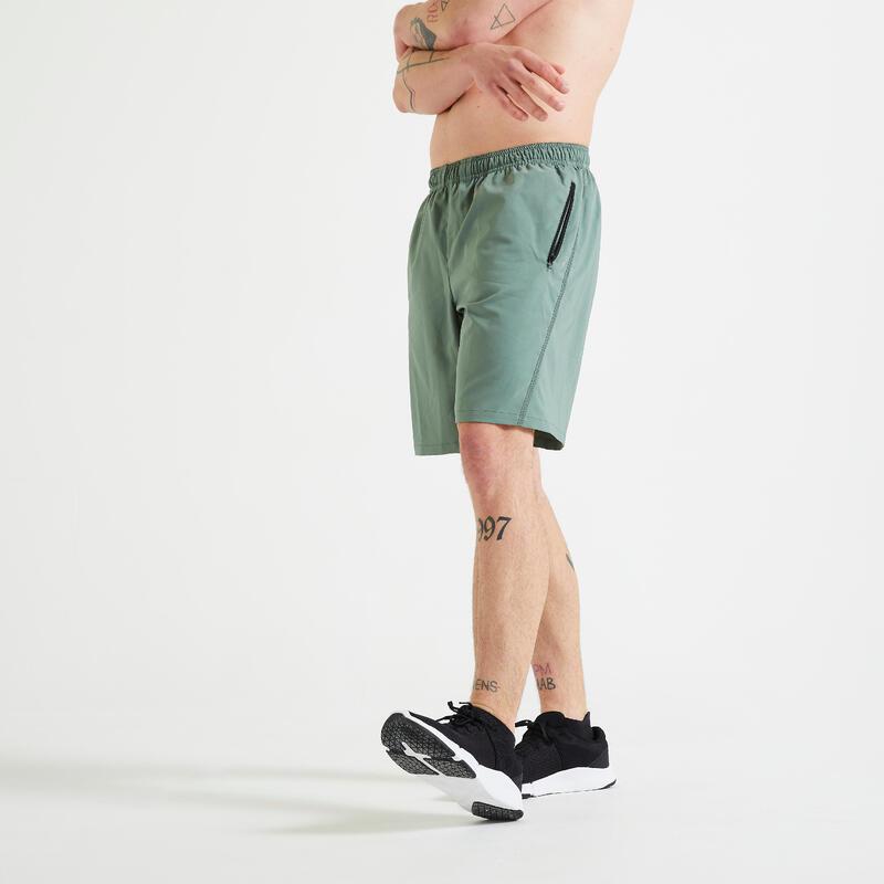Fitness Training Shorts with Zippered Pockets - Plain Green