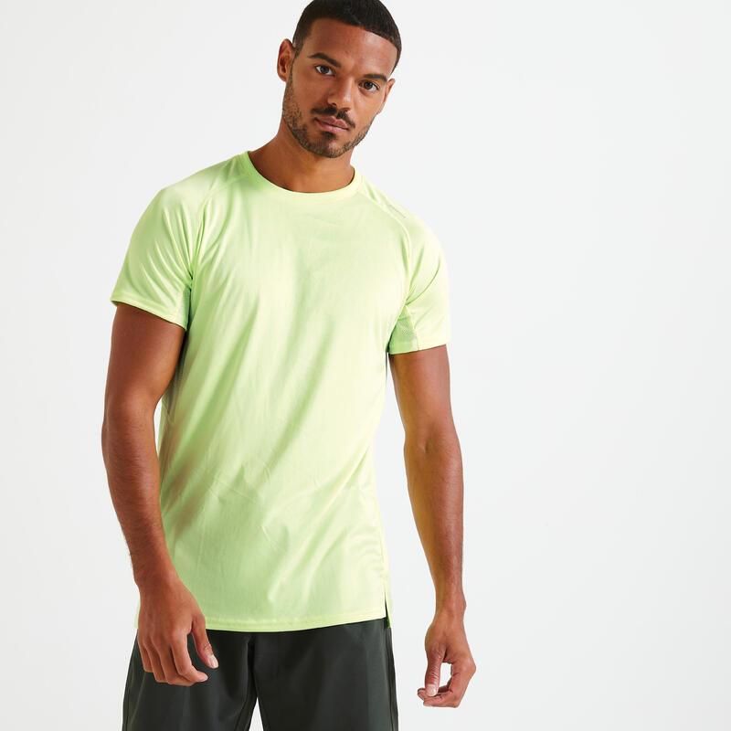 Camiseta Manga Corta Hombre Técnica Fitness Amarillo