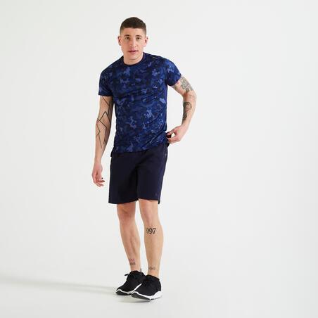 Playera técnica fitness azul estampado camuflaje