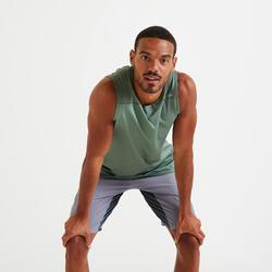 Debardeur fitness training vert uni.