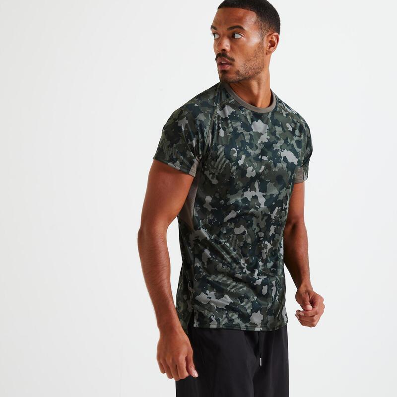 T shirt technique fitness gris imprimé camouflage kaki