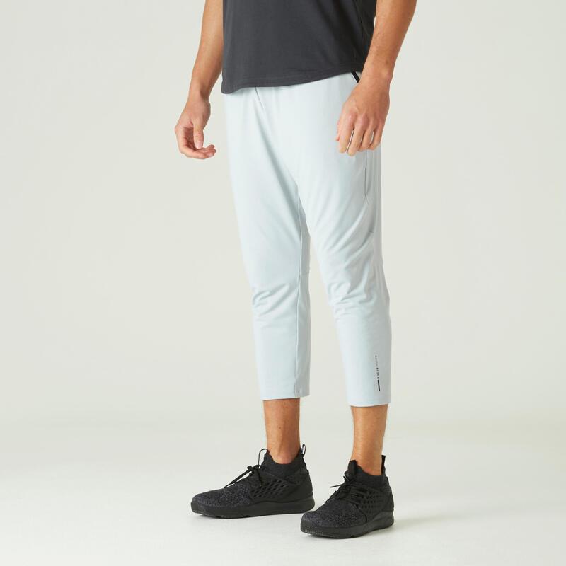 Pantaloni 7/8 skinny uomo fitness 900 grigio chiaro
