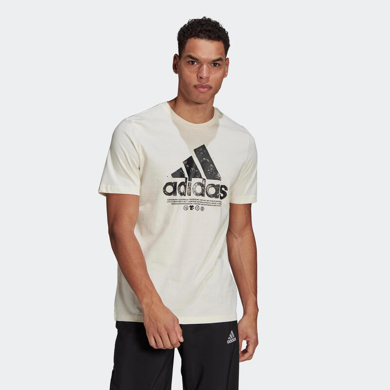 T-shirt fitness Adidas manches courtes slim coton col rond homme blanc