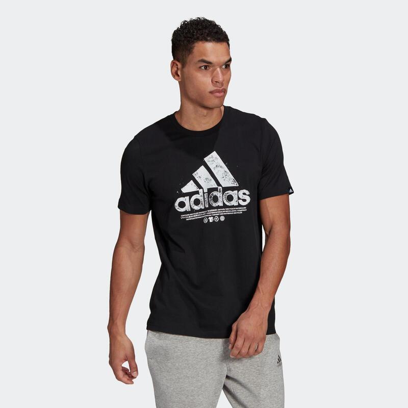 T-shirt fitness Adidas Graphique manches courtes slim coton col rond homme noir