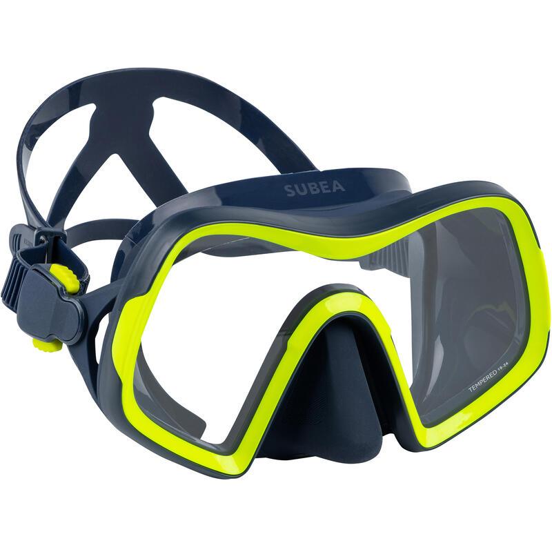 Masque de plongée sous marine SCD 500 V2 mono-hublot jupe bleue cerclage jaune