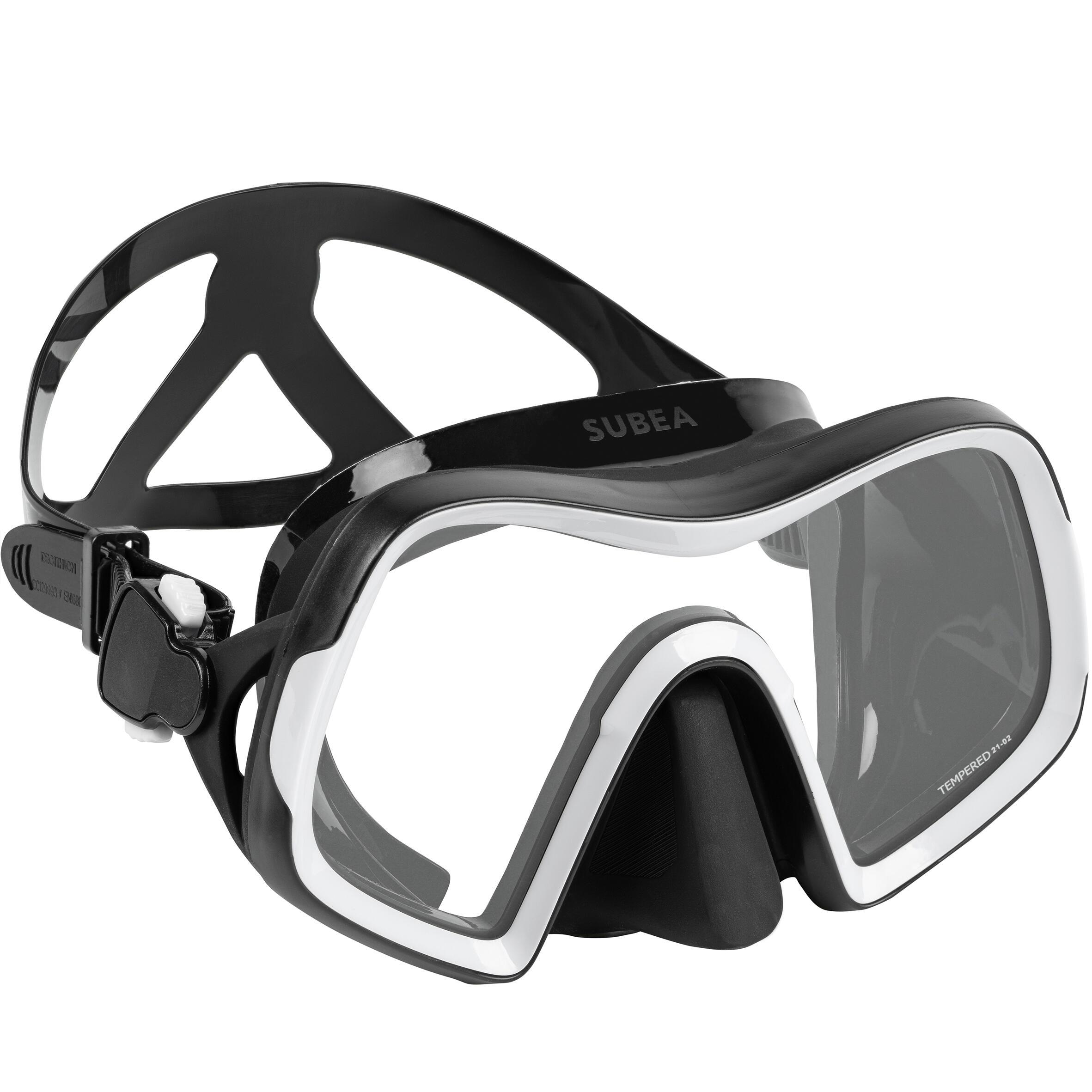 Diving mask SCD 500 V2 single lens black skirt and grey strap - L By SUBEA   Decathlon