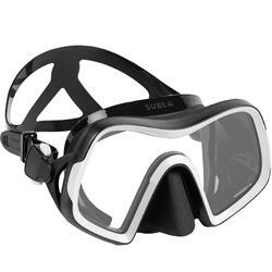 Diving mask SCD 500 V2 single lens black skirt and grey strap