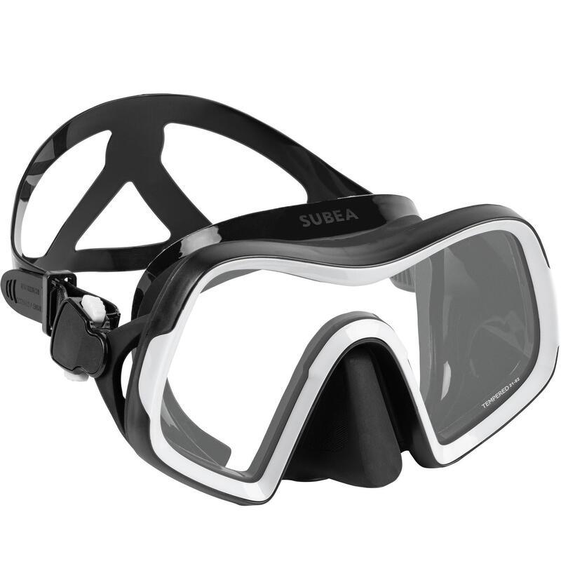 Masque de plongée sous marine SCD 500 V2 mono-hublot jupe noire et cerclage gris