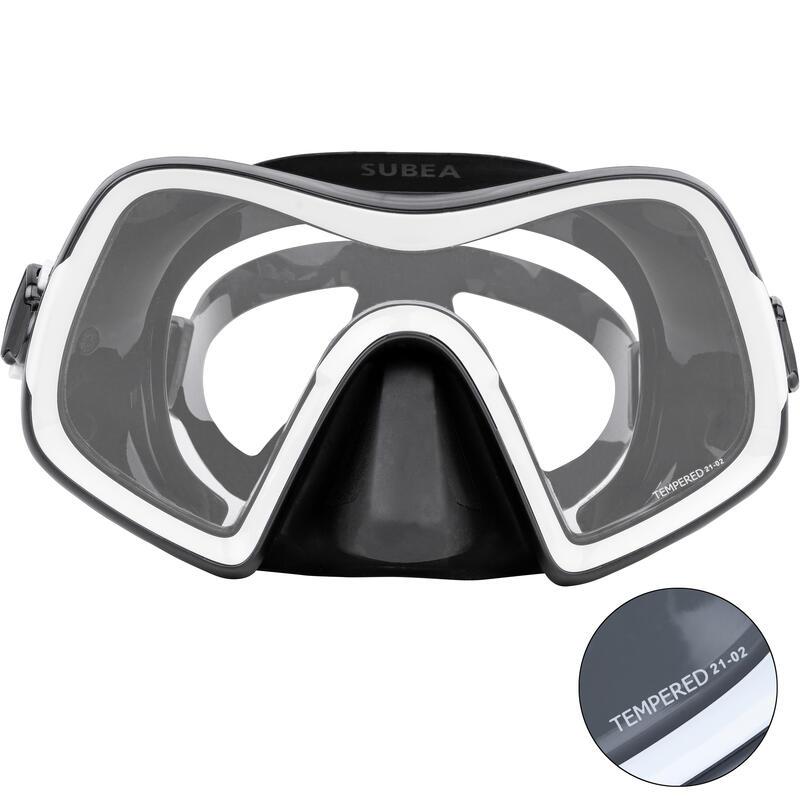 หน้ากากดำน้ำลึกเลนส์เดี่ยวรุ่น SCD 500 (ขอบสีดำ/กรอบสีเทา)