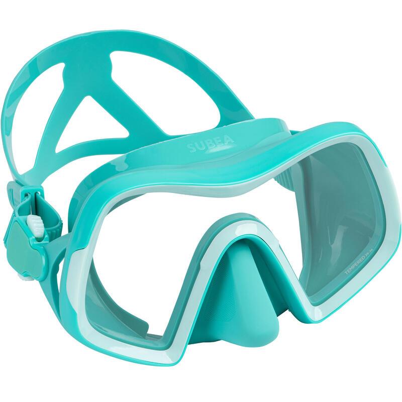 Masque de plongée sous marine SCD 500 V2 mono-hublot turquoise