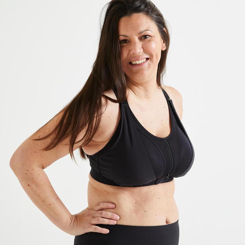 Top Sujetador Deportivo Mujer Fitness cardio-training Alto Impacto 920 Negro