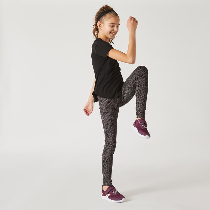 Girls' Breathable Cotton Gym Leggings 500 - Black/Ombre Print