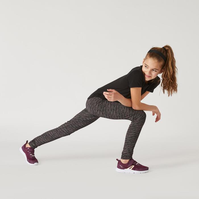Leggings atmungsaktiv 500 Gym Kinder schwarz Farbabstufungen