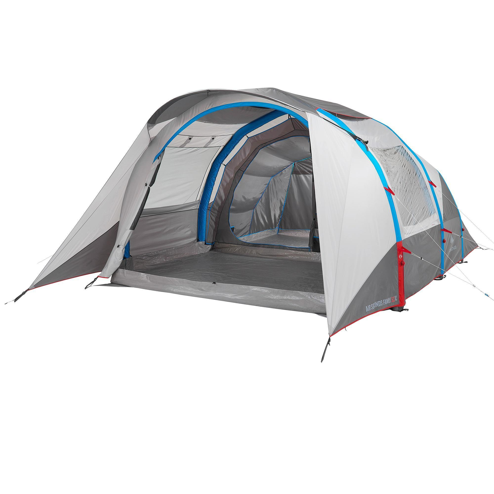 Family camping tent air seconds 5 2 xl 5 people grey quechua for Table quechua