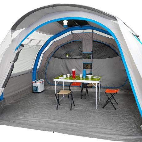 Family camping tent air seconds 5 2 xl 5 people grey for Living room quechua
