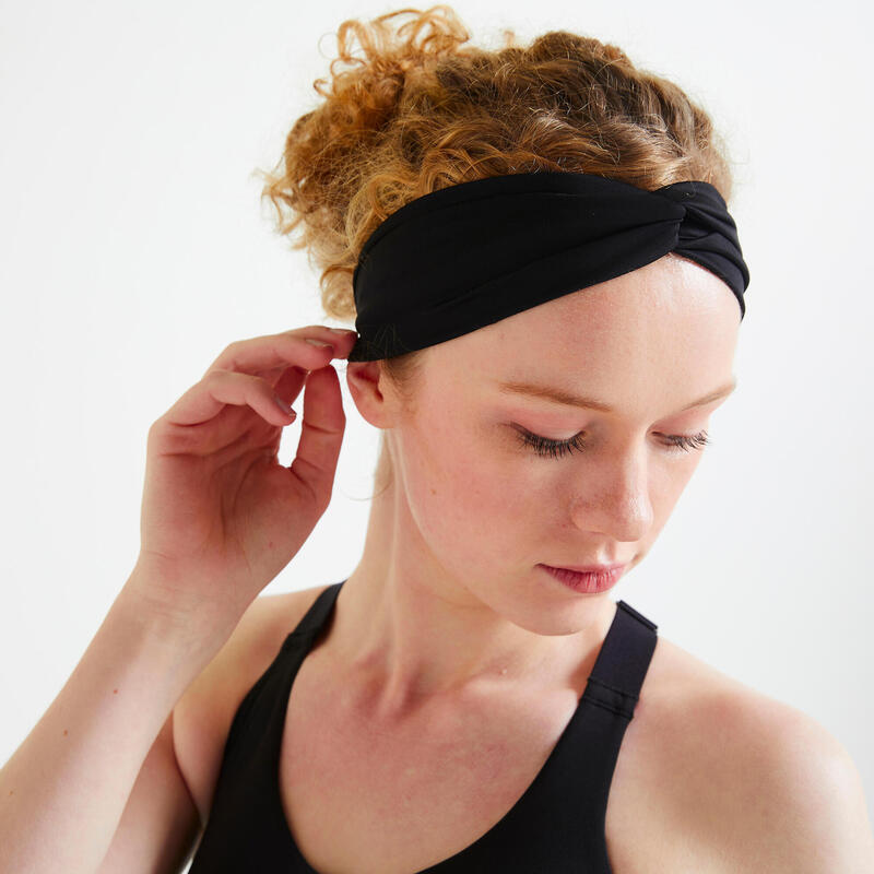 Women's Cardio Fitness Headband with Elastic - Black