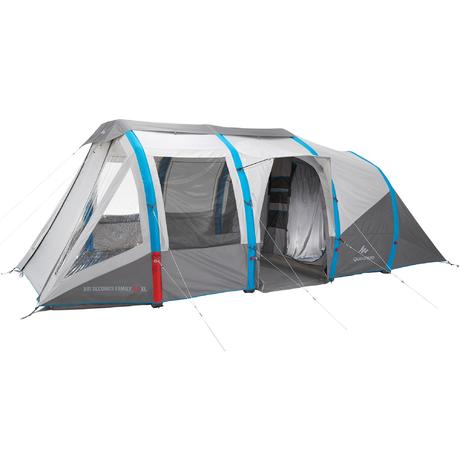 Tente de camping air seconds family 6 personnes 3 for Tente 6 places 3 chambres
