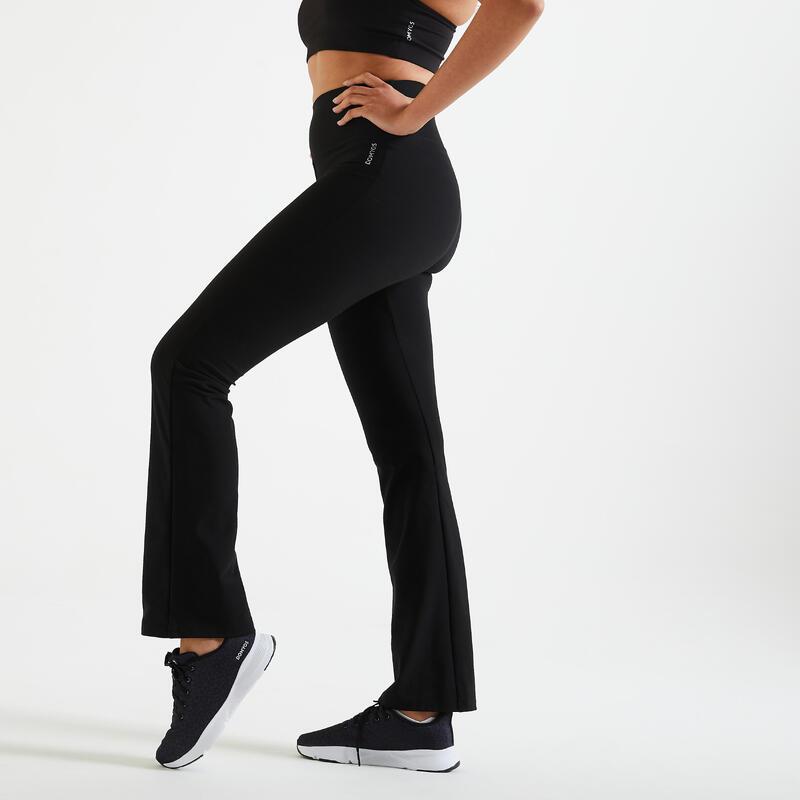 Mallas Leggings Bajos Rectos Mujer Fitness Negros