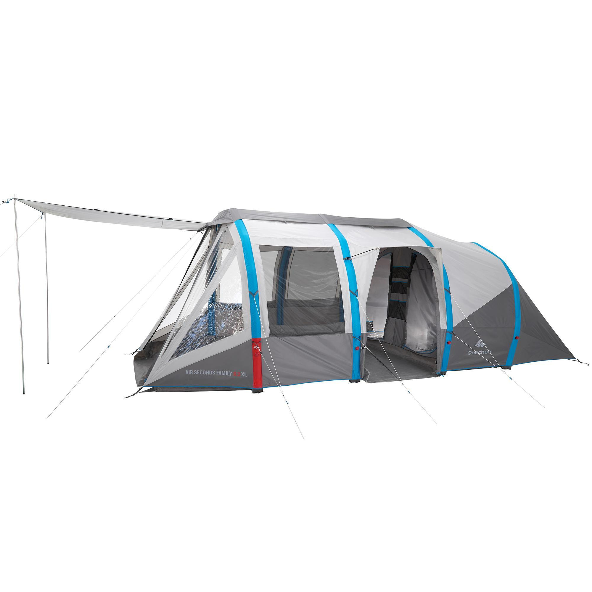 air seconds family tent 6 people grey quechua. Black Bedroom Furniture Sets. Home Design Ideas