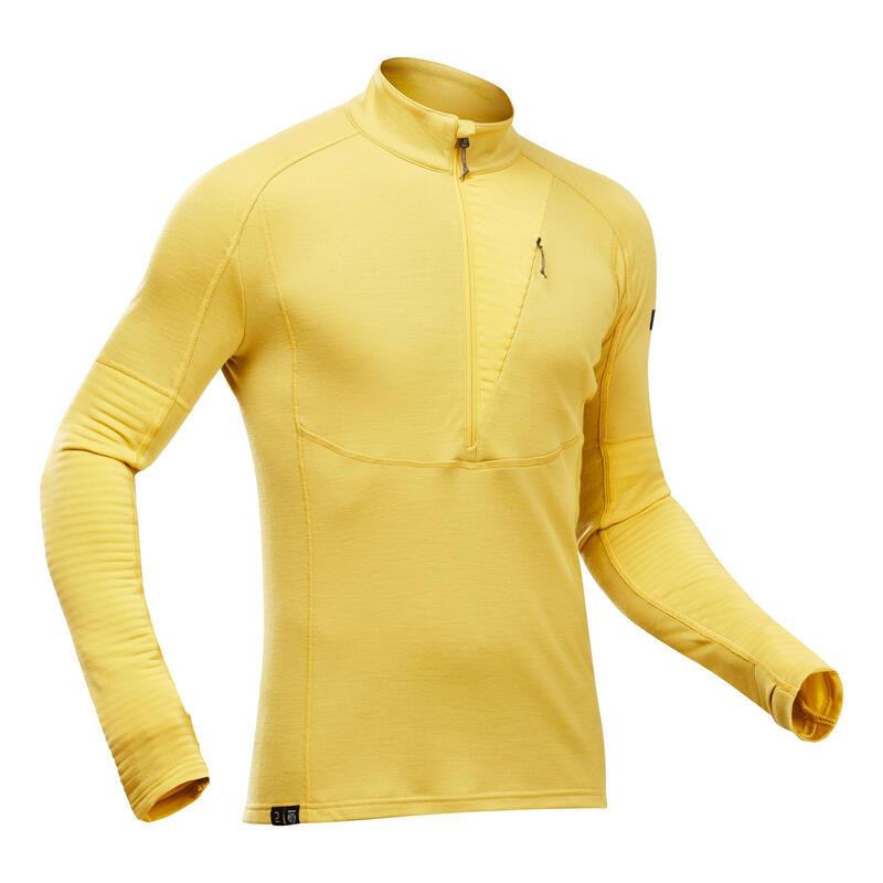 Bluză Lână merinos Trekking la munte Trek900 galben Bărbaţi