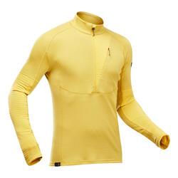Men's Mountain Trekking Long-Sleeved T-Shirt - TREK 900 MERINO - Yellow