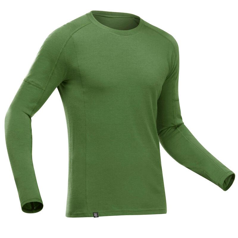 T-shirt manches longues de trek montagne - TREK 500 MERINOS vert - homme