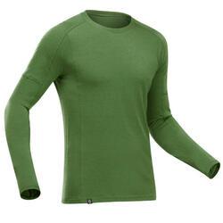 T-Shirt lana merinos montagna uomo TREK500 WOOL verde