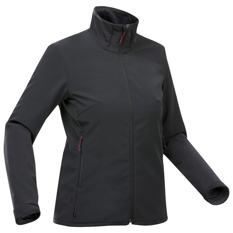 Dámská turistická softshellová bunda TREK 100 WINDWARM černá