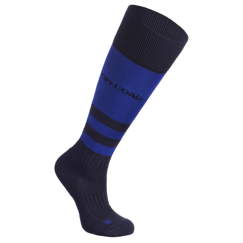 Chaussettes hautes de rugby enfant R500 bleue indigo