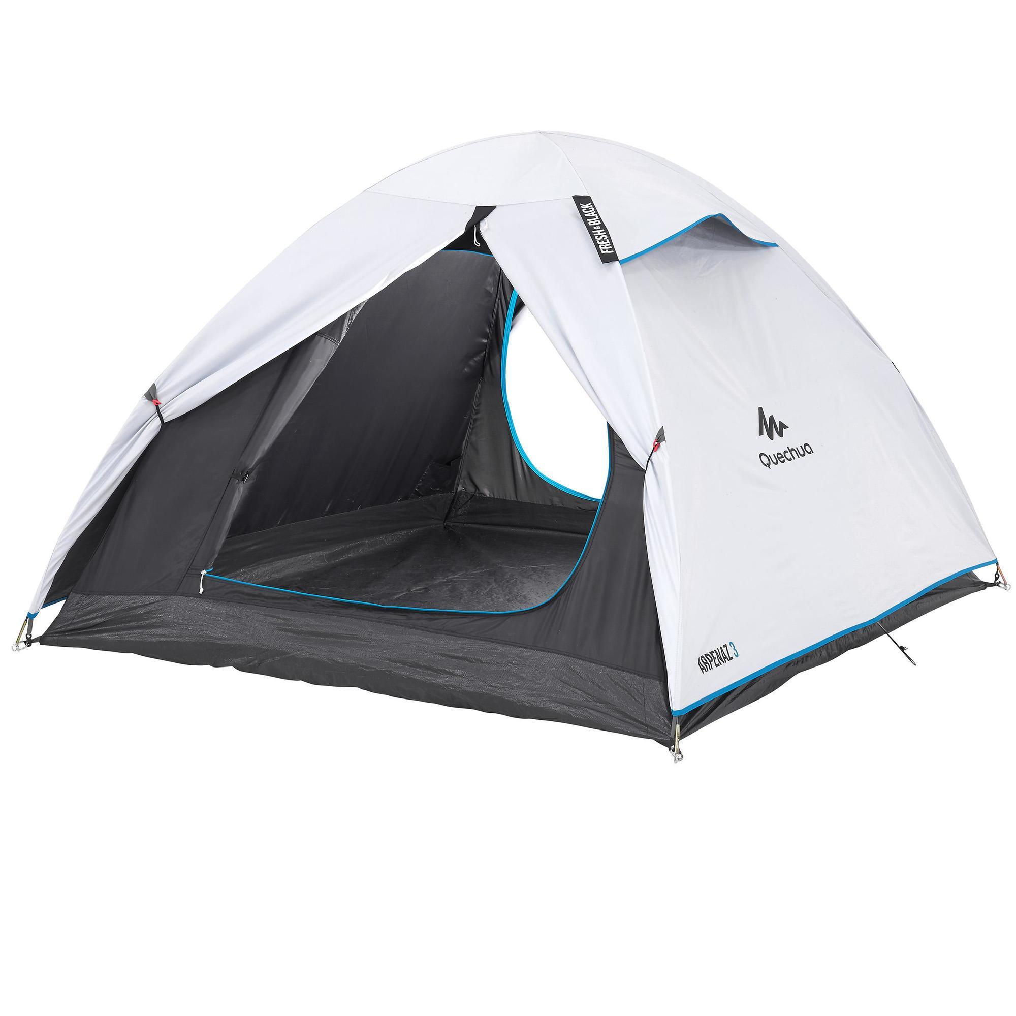 Quechua 2 SECONDS III Tente 3 Personnes EASY Pop-Up Camping-Tente plage rouge