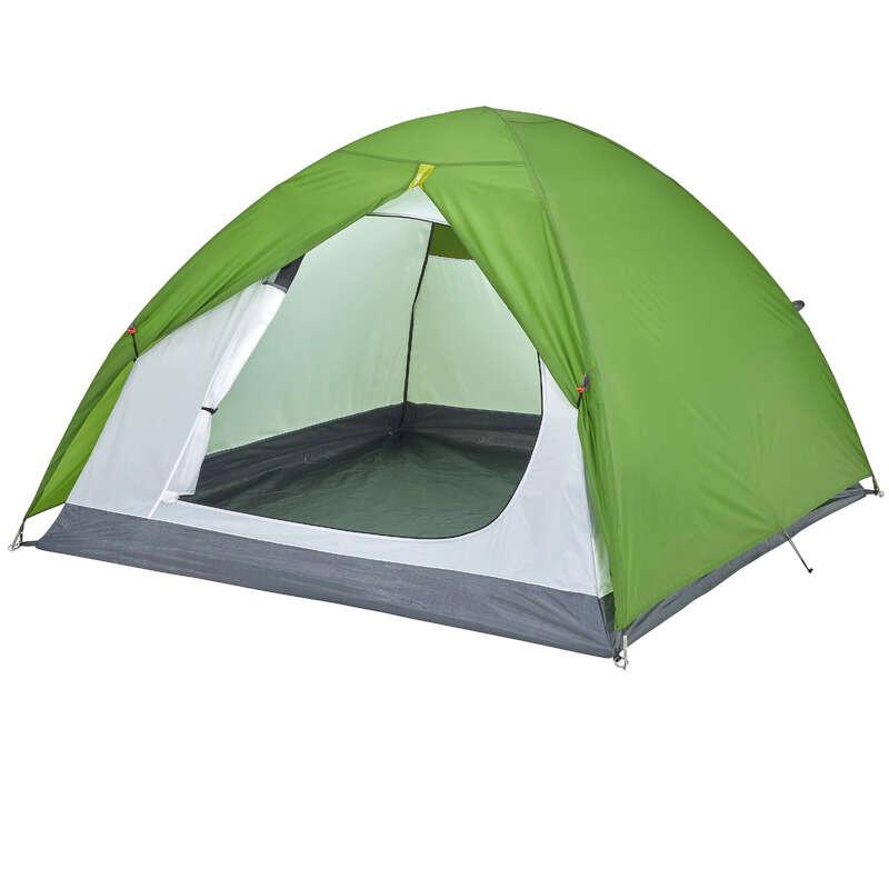 TOURING CAMP TENTS, TARPS - Arpenaz 3 Tent - 3 Man, Green QUECHUA