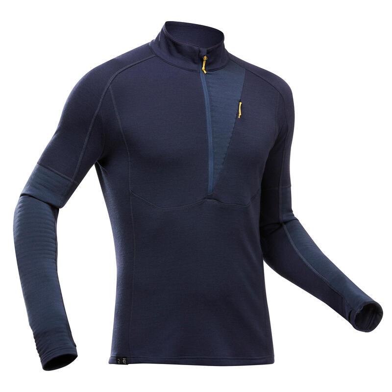 Bluză Lână merinos Trekking la munte Trek900 Albastru Bărbaţi